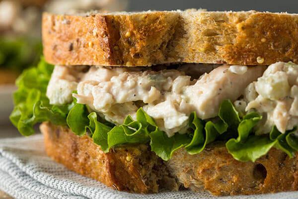 Chicken salad sandwich closeup